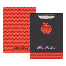 Porte-bloc personnalisé tableau noir chevron rouge pomme pour enseignant
