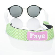 Sangle de lunettes de soleil monogrammée cercle entrelacé vert citron