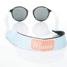 Sangle de lunettes de soleil monogrammée cercle entrelacé bleu clair
