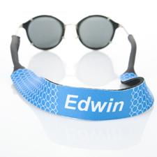 Sangle de lunettes de soleil monogrammée cercle bleu