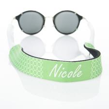 Sangle de lunettes de soleil monogrammée cercle vert citron
