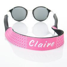 Sangle de lunettes de soleil monogrammée cercle rose vif