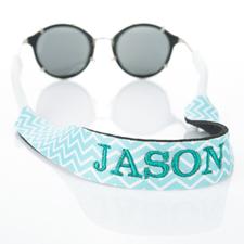 Sangle de lunettes de soleil monogrammée broderie chevron turquoise