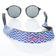 Sangle de lunettes de soleil monogrammée broderie chevron bleu