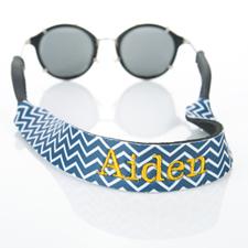 Sangle de lunettes de soleil monogrammée broderie chevron bleu marine
