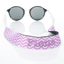 Sangle de lunettes de soleil monogrammée broderie chevron lavande