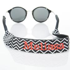 Sangle de lunettes de soleil monogrammée broderie chevron noir