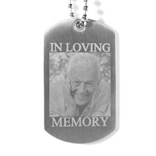 Collier pendentif plaque militaire photo gravé en douce mémoire