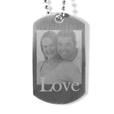 Collier pendentif plaque militaire photo gravé amoureux