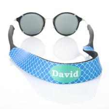Sangle de lunettes de soleil nom personnalisé trèfle bleu