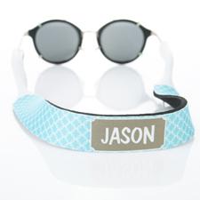 Sangle de lunettes de soleil monogrammée cercle entrelacé turquoise