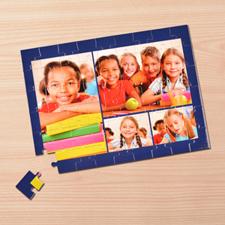 Puzzle photo personnalisé bleu marine 4 collage 30,48 x 41,91 cm