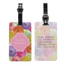 Étiquette de bagage personnalisée portrait floral aquarelle