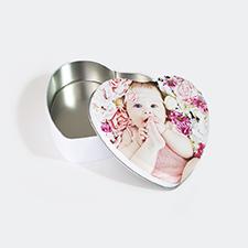 Boîte en étain en forme de coeur conception personnalisée, petit
