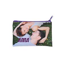 5x8 Custom Imprint Glitter Text Cosmetic Bag, Purple Zipper (Custom 2-sides)