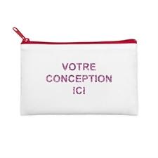 5x8 Custom Imprint Glitter Text Cosmetic Bag, Red Zipper (Custom 2-sides)