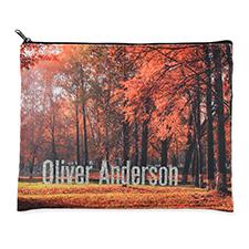 11x14 Custom Photograph Glitter Cosmetic Bag, Black Zipper (Custom 2-sides)