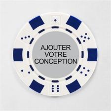 Jeton de poker personnalisé blanc dés rayé