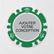 Jeton de poker personnalisé couronne verte