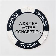 Jeton de poker bicolore blanc conception personnalisée