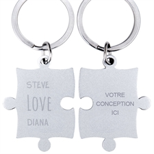 Puzzle porte-clefs personnalisé nom gravé amour