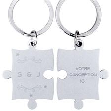 Puzzle porte-clefs gravé personnalisé couronne et étoiles