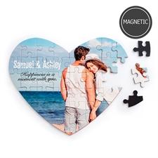 Puzzle magnétique en forme de coeur images et message personnalisés