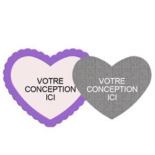 Concevez le vôtre puzzle magnétique en forme de coeur avec cadre violet