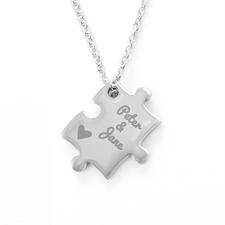 Collier puzzle personnalisé coeur nom gravé, recto personnalisé