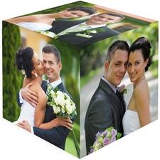 Cube photo en bois mariage personnalisé 6 panneaux