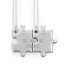 Colliers puzzle personnalisables gravés correspondants pour couple, recto personnalisé