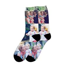 Chaussettes unisexes à imprimé personnalisé trois collage, moyen