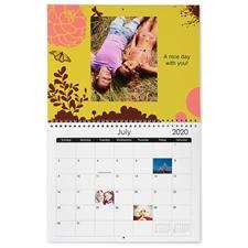 Petit calendrier mural 21,59 x 27,94 cm, impression personnalisée floraison heureuse