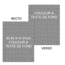 Puzzle photo recto-verso couleur & texte de fond personnalisés portrait, 285 ou 54 pièces, 30,48 x 41,91 cm
