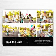 Invitation puzzle personnalisée noire six collage