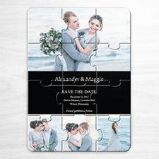 Invitation puzzle personnalisée Réservez la date, invitation puzzle noire 4 photos collage