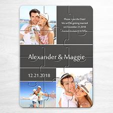 Puzzles personnalisés Réservez la date, invitation puzzle grise 3 images collage