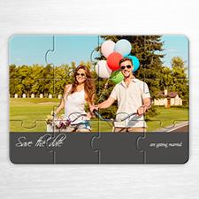 Puzzle personnalisé Réservez la date, invitation puzzle grise amour unique