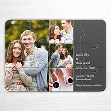 Puzzle personnalisé Réservez la date, invitation puzzle grise 4 images collage