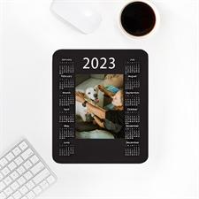 Calendrier 2019 portrait imprimé personnalisé, tapis de souris noir