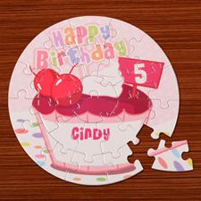 Puzzle rond anniversaire fille