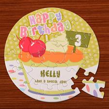 Puzzle rond 18,41 cm gâteau d'anniversaire bébé