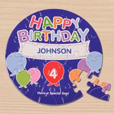Puzzle rond 18,41 cm ballons d'anniversaire bleus