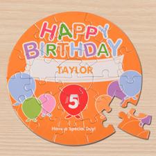 Puzzle rond 18,41 cm ballons d'anniversaire ronds