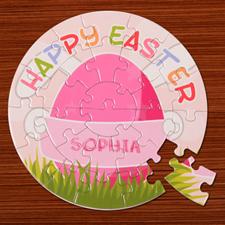 Puzzle rond rose 18,41 cm oeufs de Pâques