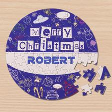 Puzzle rond bleu 18,41 cm Joyeux Noël
