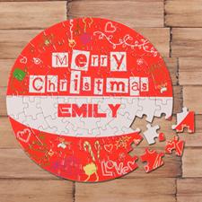 Puzzle rond rouge 18,41 cm Joyeux Noël