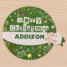 Puzzle rond vert 18,41 cm Joyeux Noël