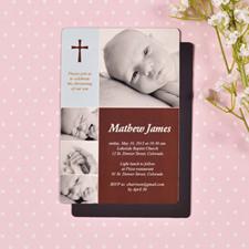 Larges aimants de frigo photo mode baptême bébé garçon personnalisés 10,16 x 15,24 cm
