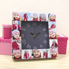 Horloge personnalisée 16 collages large cadran gris
